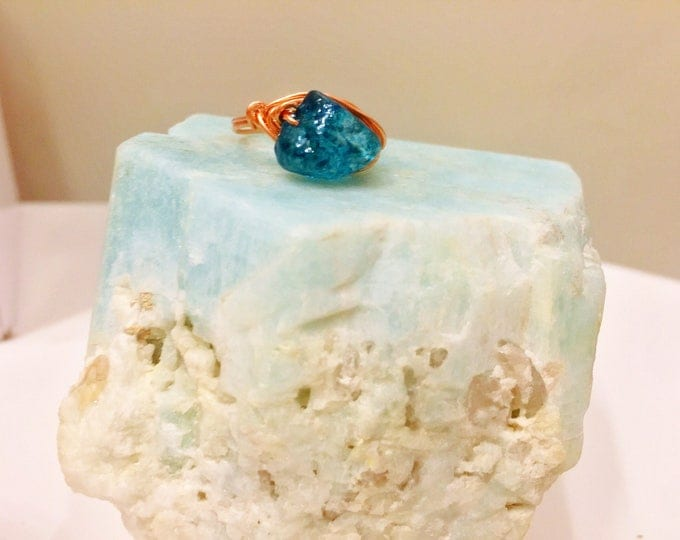 Apatite Crystal Healing Tranquility Ring - size 6.5