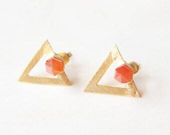Red stud earrings, Carnelian earrings, orange earrings, carnelian stud Earrings, red Gemstone earrings, carnelian jewelry gold triangle stud