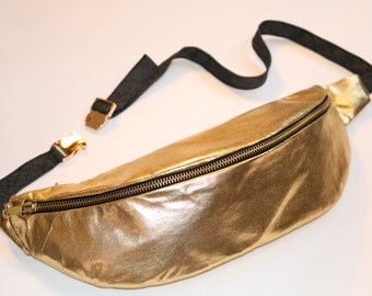 GOLDEN BUMBAG 2 zipped pockets with finest quality ykk zips, inside pocket,  solid golden shiny clip fastener