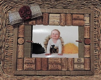 Wine cork unconventional photo frame - ready to ship