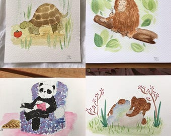 100 day project paintings, 1 - 30, animal art, mini-paintings