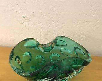 Small green Mandruzzato Sommerso Murano Bowl