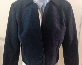 1970s Bolero Ultrasuede Jacket in Navy Blue by Vincent-Kari. Great for fall, winter, travel, business, corporate
