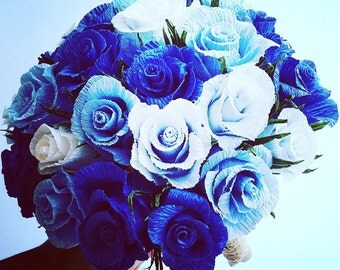 Dark blue Wedding Bouquet, bride flowers, origami bouquet, crepe paper flowers
