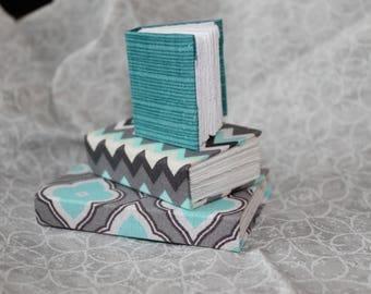 Miniature Teal and Gray Handmade Journal Set