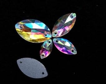Sew On Crystal Rhinestones 2 holes Navette Crystal AB Flat Back Sew On Glass Crystal Rhinestone beads gemstones
