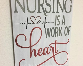 Nursing Sign, Gift for Nurse, Handmade Gift, Office Decor, Gift for Her, Gift for Him, Nurse Gift, Wooden Sign