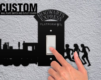 Hogwarts Express Platform 9 3/4 Harry Potter Running Wall Switchplate and Outlet Plate Covers