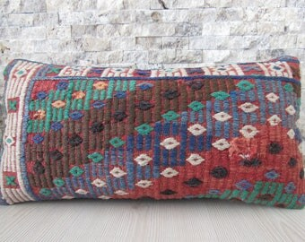 anatolian kilim pillow 10 x 20 handmade kilim pillow cover handwoven vintage turkish 10x20 kelim cushion bohemian pillow decorative pillow