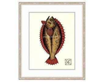 "Fluke 11""x14"" Giclee Print Of A Watercolor Painting For The Freshwater and Saltwater Angler. Flat Fish. Summer Flounder. Winter Flounder"