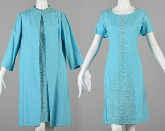 Large 1960s Dress Set 60s Baby Blue Dress Jacket Set Mosaic Short Sleeve Dress Shift Dress Spring Outfit Vintage Dress Ensemble