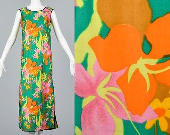 Medium Comfortable Long Dress Casual Sleeveless Dress Vintage 1970s 70s Tropical Island Wear Maxi Slit Skirt