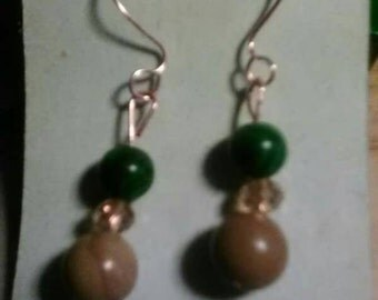 Picture Stone and Malachite Drop Earrings with Champagne Swarovski Crystals