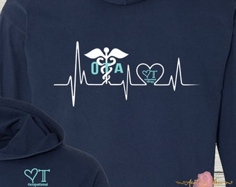 Monogrammed OT Occupational Therapy Shirt Hoodie Comfort Colors Beautiful Colors Occupational Therapist Assistant OTA
