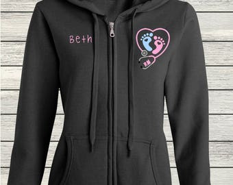 Ladies' Fit Heavy Blend Full-Zip Hooded Sweatshirt Nurse RN Nursing Labor & Delivery NICU Pediatric