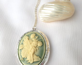 Flower Fairy Cameo Photo Locket on Sterling Silver Chain