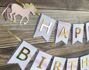 Unicorn Birthday Banner- Unicorn Happy Birthday Banner in Pastels- Pastel Watercolor Unicorn Banner- Unicorn Party Decor