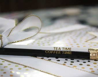 Coffee Time Gold Foil Stamped Pencil Set