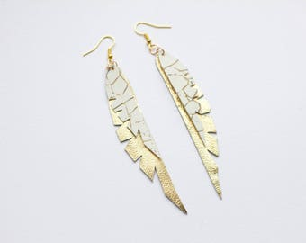 Leather Feather Earrings Gold and White