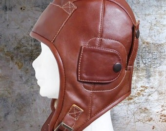 leather aviator hat, steampunk hat