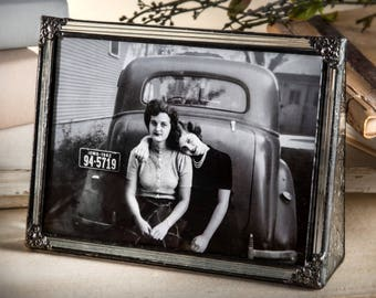 Vintage Glass Picture Frame 5x7 Horizontal Landscape Family Photo Frame Gift for Wedding Anniversary Pic 360-57H