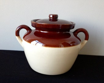 McCoy 342 Brown and White Bean Pot with Lid