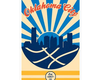 Oklahoma City Basketball Vintage Poster