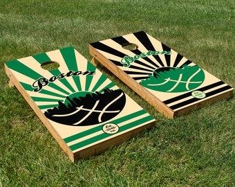 Boston Basketball Cornhole Board Set with Bean Bags