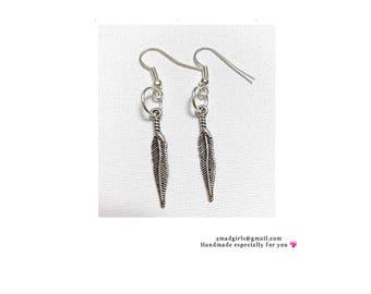Tibet Silver Feather Earrings - Tibet Silver - Feather Earrings - Silver Feather Earrings