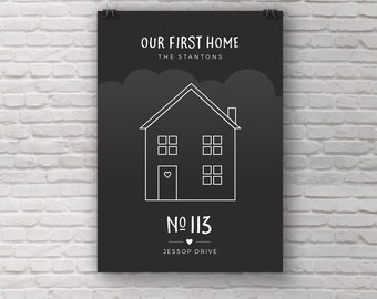 House portrait, House warming gift, New home illustration, Home print, First home, Personalised, Custom, Anniversary, Birthday, Wedding