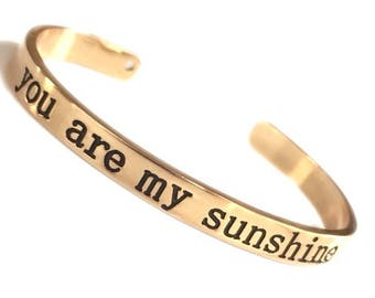 You are My Sunshine Metal Cuffs (2 colors)