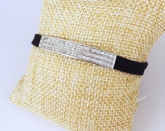 Sterling Silver Pave Bar on Faux Suede Bracelet