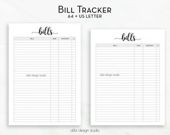 Bill Tracker, Printable Planner, Bill Inserts, Finance Planner, Bill Calendar, Monthly Bill Tracker, Bill Organizer , A4 Printable, Letter