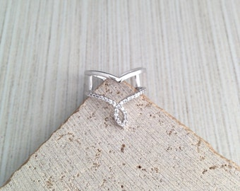 Chevron Ring,Silver Chevron Ring,Double Ring,Silver Double Ring,Cubic Double Band Ring,Cubic Band Ring