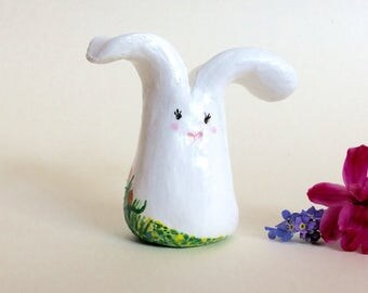 Hand painted clay bunny rabbit with tulip, forget-me-not and calendine flower detail.