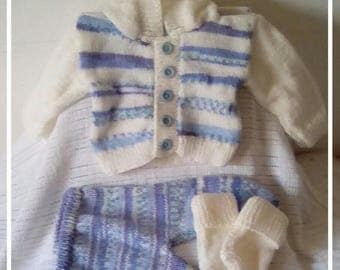 Hand Knitted baby boy's hoodie set