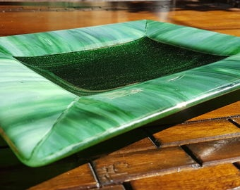 "Forest & Adventurine Green Kiln Formed Fused Glass Plate 10"" x 12"", Appetizer/Sushi Dish, Snack/Fondue/Cookie Serving Dish, Jewelry Holder"
