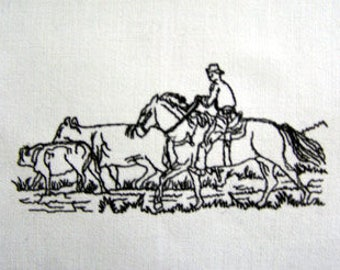 Country Cowboy Round-Up Embroidered Kitchen Tea Towel