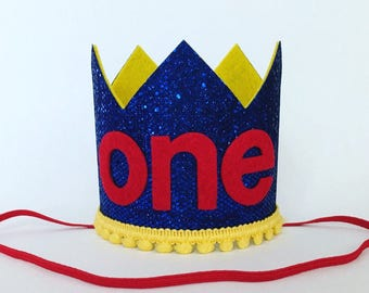 Cirucs 1st Birthday Crown, Primary Colors Red Blue Yellow First Birthday Crown, Big Top Birthday Hat, Circus Party Hat, 1st 2nd 3rd Birthday