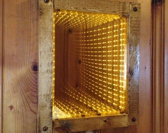 Gold LED Infinity Mirror Handcrafted With Wood Frame