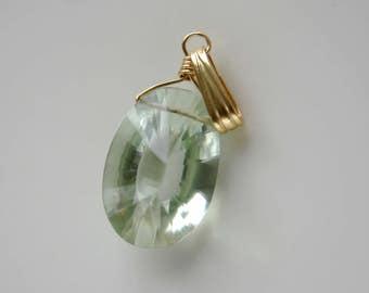 14mm Green Amethyst 333 gold pendant charm amulet talisman