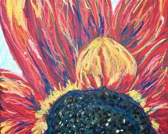 Sunflower, Pastel Painting,