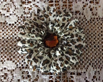 One (1) Animal Print Flower Handmade Hair Clip