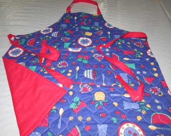one size quilted apron doubled in cotton .kitchen apron woman