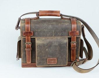 Handmade Leather Messenger Bag Briefcase Brown