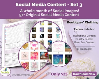 Social Media Images - Content for Clothing / Boutique (SET 3) -- 57+ original images with blank planner pages, checklists, tasks, and goals