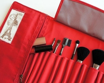 "Makeup brush roll, Crochet hook organizer , paintbrush roll ""PARIS AND RED"""