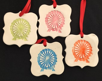 Ceramic Ferris Wheel Ornament, Ferris Wheel Ornament, Ferris Wheel