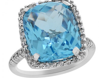 5.45 Carat Blue Topaz and Diamond Ring in 14K White Gold