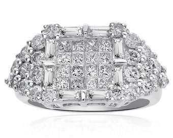 2.15 Carat Princess Round Baguette Cut Cluster Ring 14K White Gold